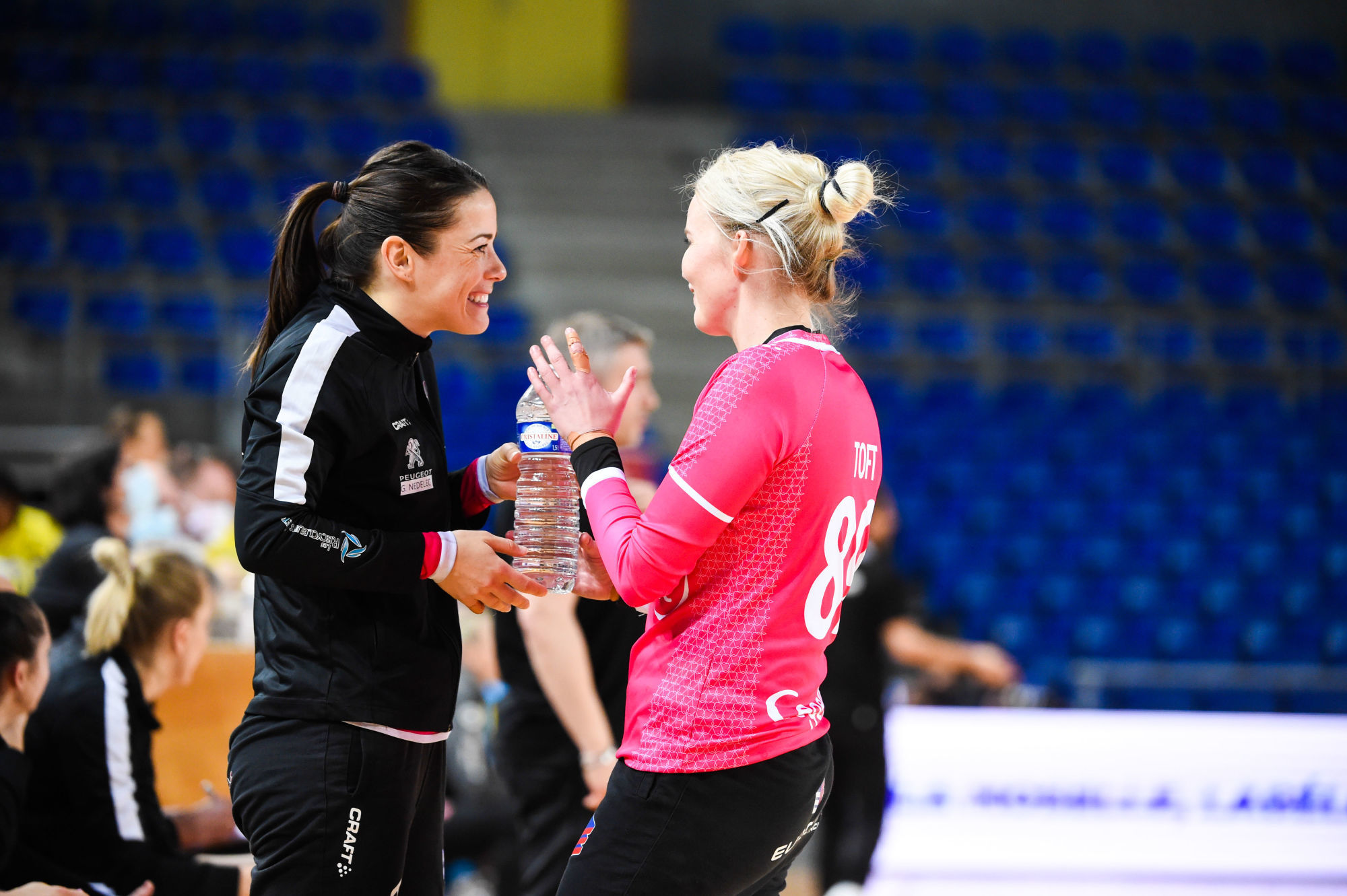 Cleopatre DARLEUX of Brest and Sandra TOFT of Brest during the LFH - Ligue Butagaz Energie match between Metz and Brest on March 28, 2021 in Metz, France. (Photo by Sebastien Bozon/Icon Sport) - Palais Omnisports Les Arenes Metz - Metz (France)