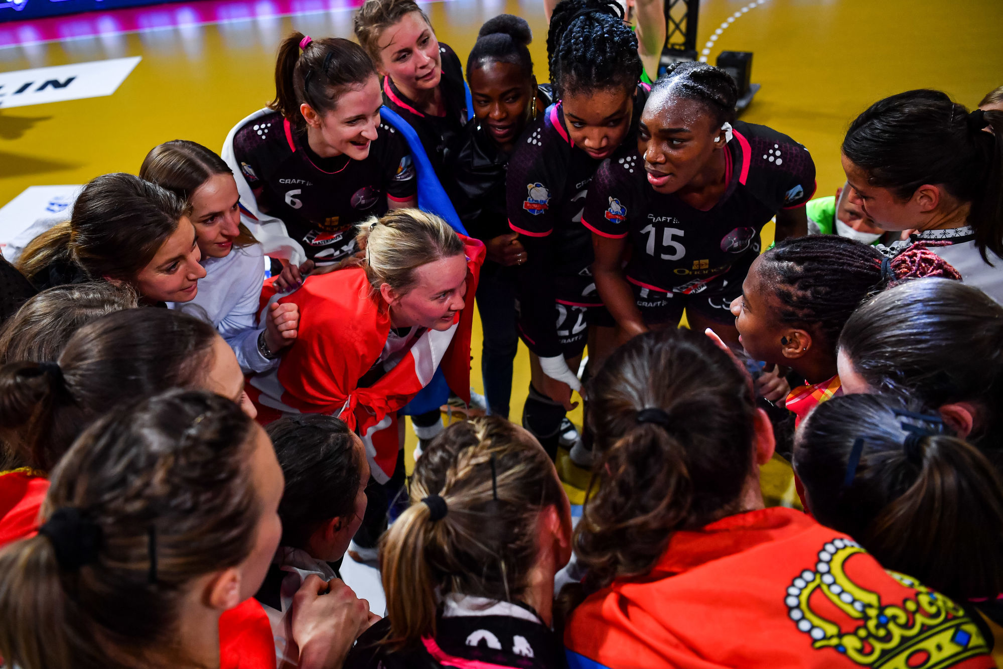 Players of Brest celebrate the victory after the women's Ligue Butagaz Energie final match between Brest and Metz at Brest Arena on May 23, 2021 in Brest, France. (Photo by Baptiste Fernandez/Icon Sport) - --- - Brest (France)