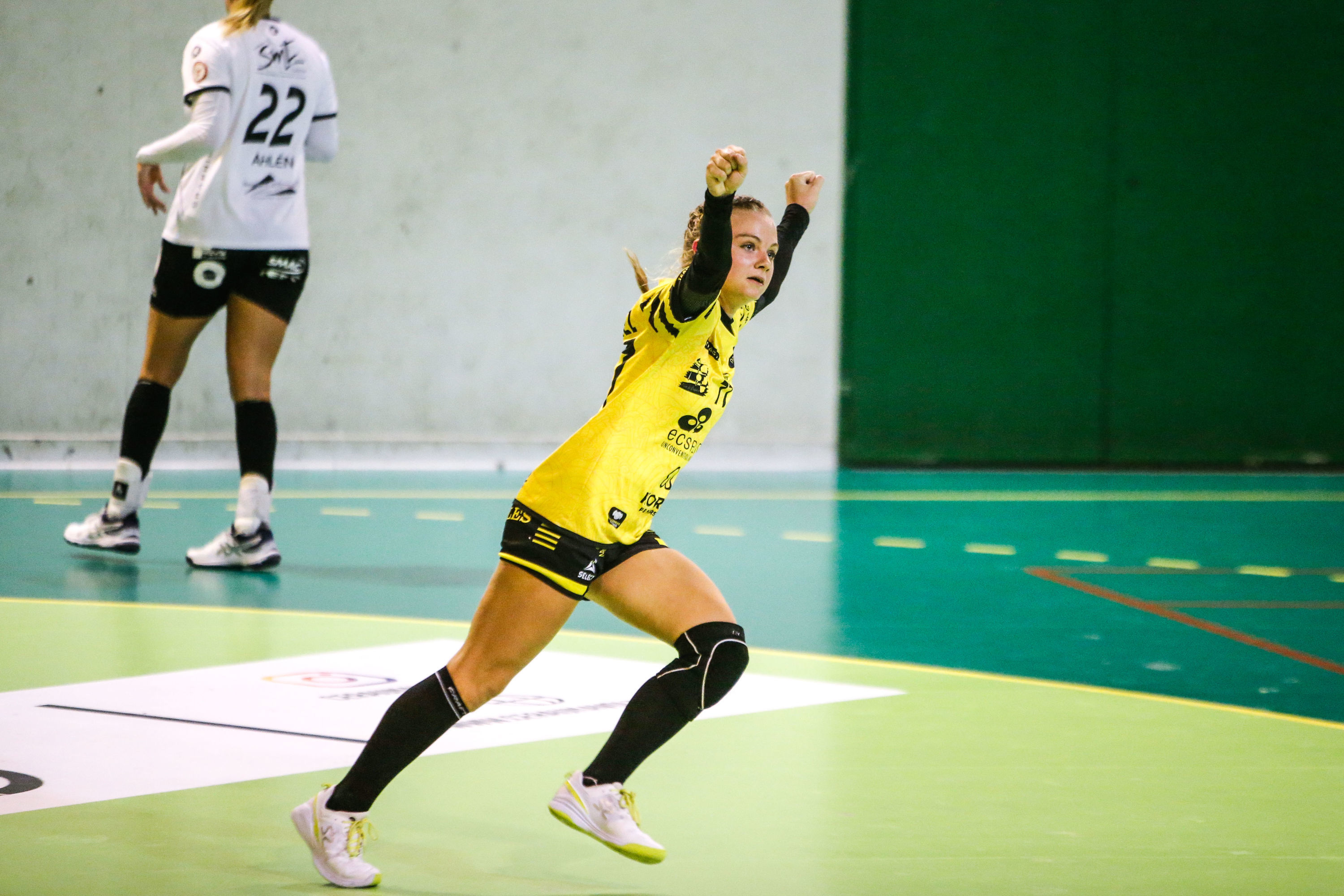 Justine MARTEL of Plan de Cuques celebrate during the Ligue Butagaz Energie match between Plan de Cuques and Celle-sur-Belle on October 2, 2021 in Marseille, France. (Photo by Johnny Fidelin/Icon Sport)