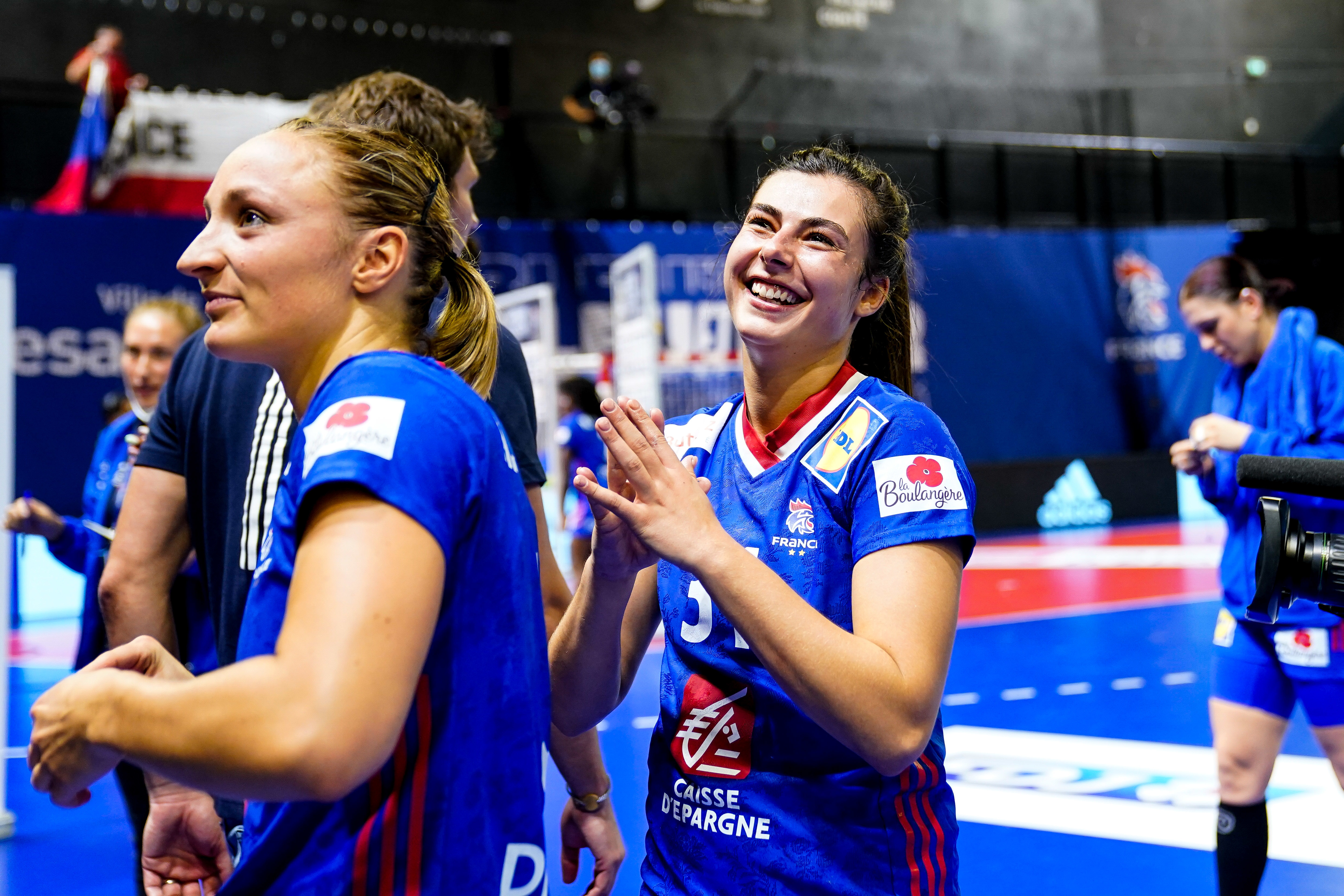 Lucie GRANIER of France celebrate during the European Championship Women, Qualification match between France and Czech Republic on October 6, 2021 in Besancon, France. (Photo by Hugo Pfeiffer/Icon Sport) - Lucie GRANIER - Besancon (France)